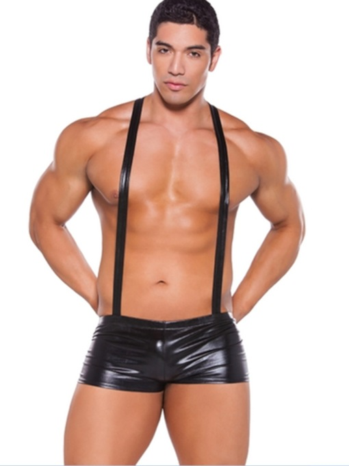 Patent Leather Plain Sexy Men's Costume