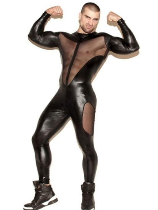 Men's Jumpsuits Patent Leather Mesh Long Sleeve Sexy Costume