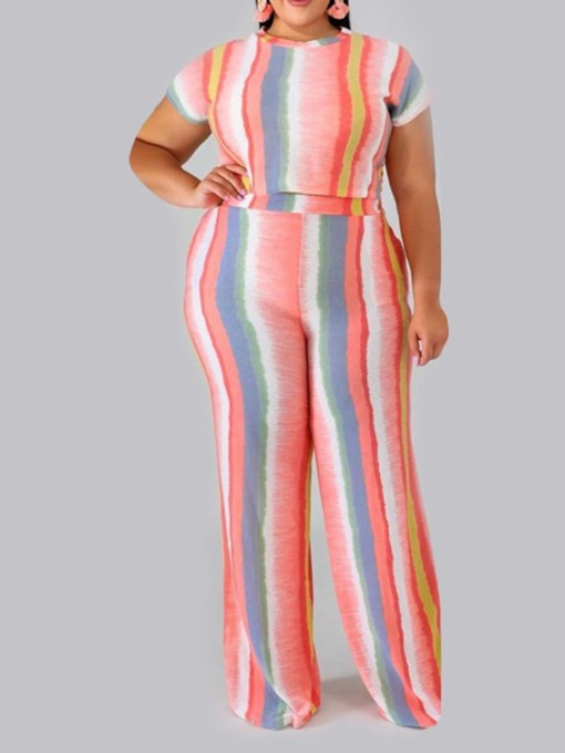T-Shirt Western Print Stripe Straight Women's Two Piece Sets