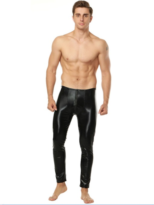 Men's Plain Patent Leather Leggings