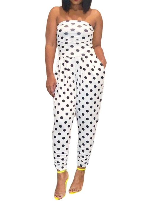 Ankle Length Polka Dots Date Night Print Pencil Pants Women's Jumpsuit