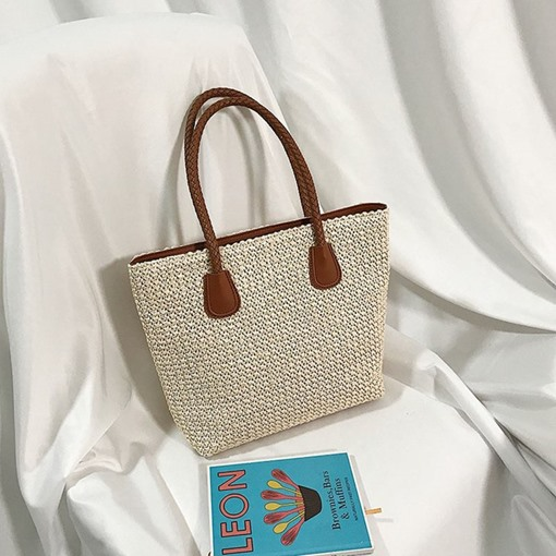 Zipper Decorated Soft Knitted Straw Tote Bags