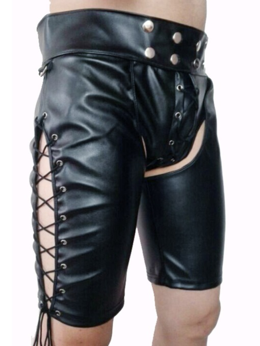 Herrenniete Lackleder schlicht sexy Shorts