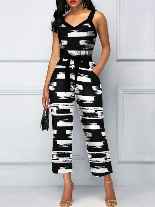 Ankle Length Print Casual Straight Women's Jumpsuit