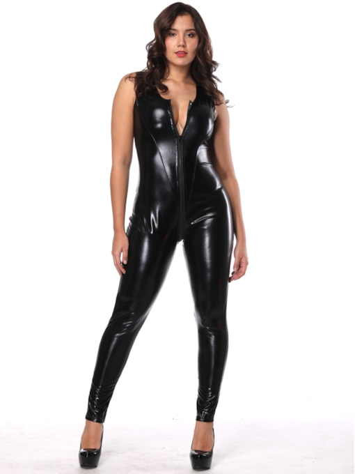 Lace-Up Plain Patent Leather Sleeveless Sexy Costume
