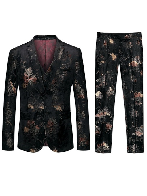 Color Block Single-Breasted Fashion Print Men's Dress Suit
