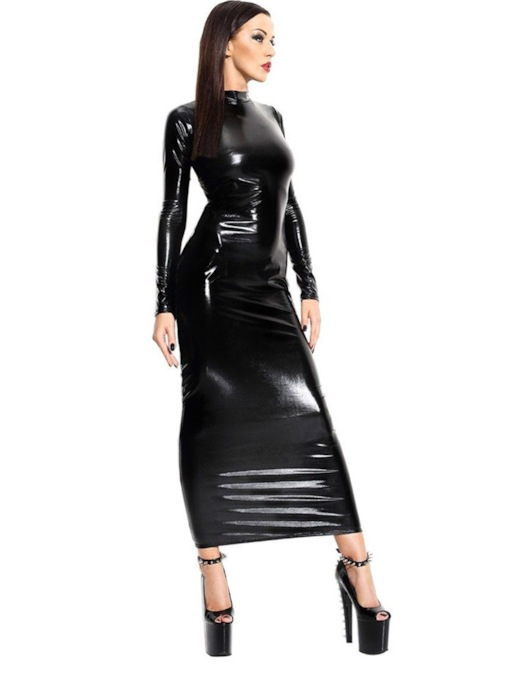 Backless Patent Leather Long Sleeve Sexy Costume