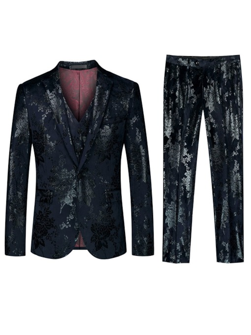 One Button Blazer Pants Vest Floral Fashion Men's Dress Suit