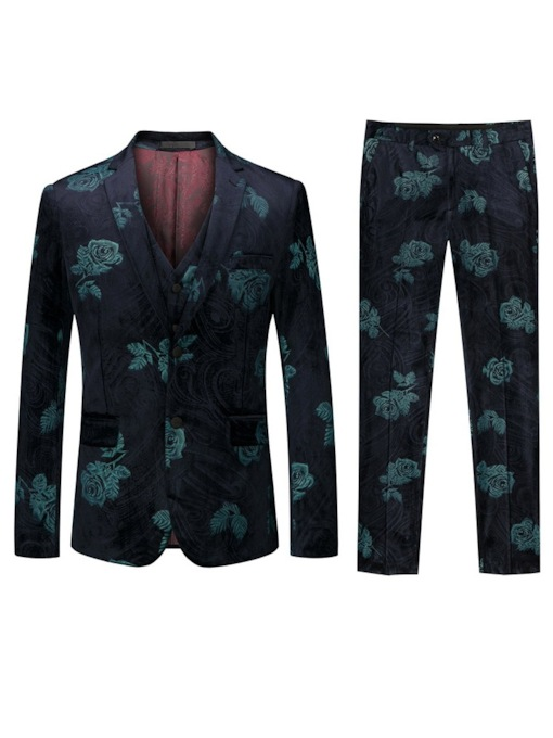 Three-Piece Suit Color Block Print Fashion Button Men's Dress Suit