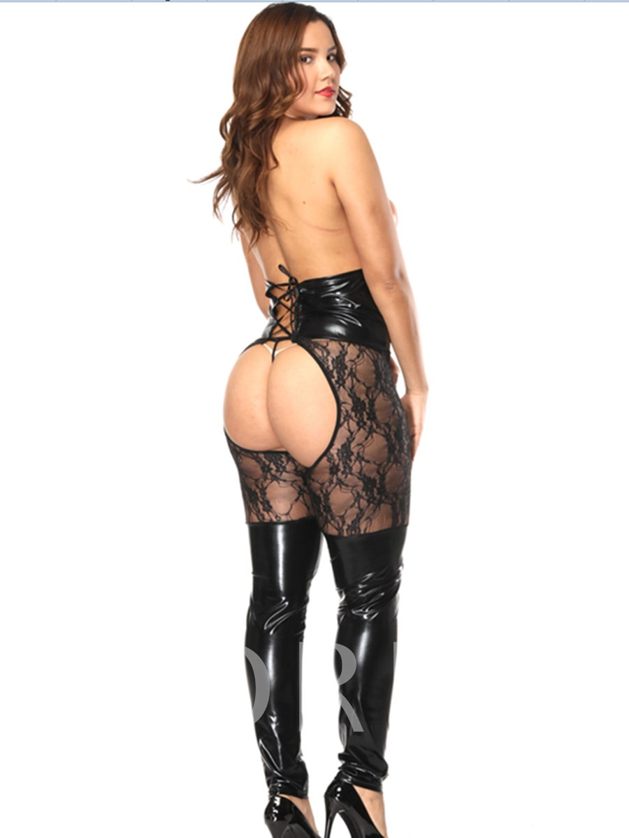 Women's Lace Patent Leather Sexy Leggings