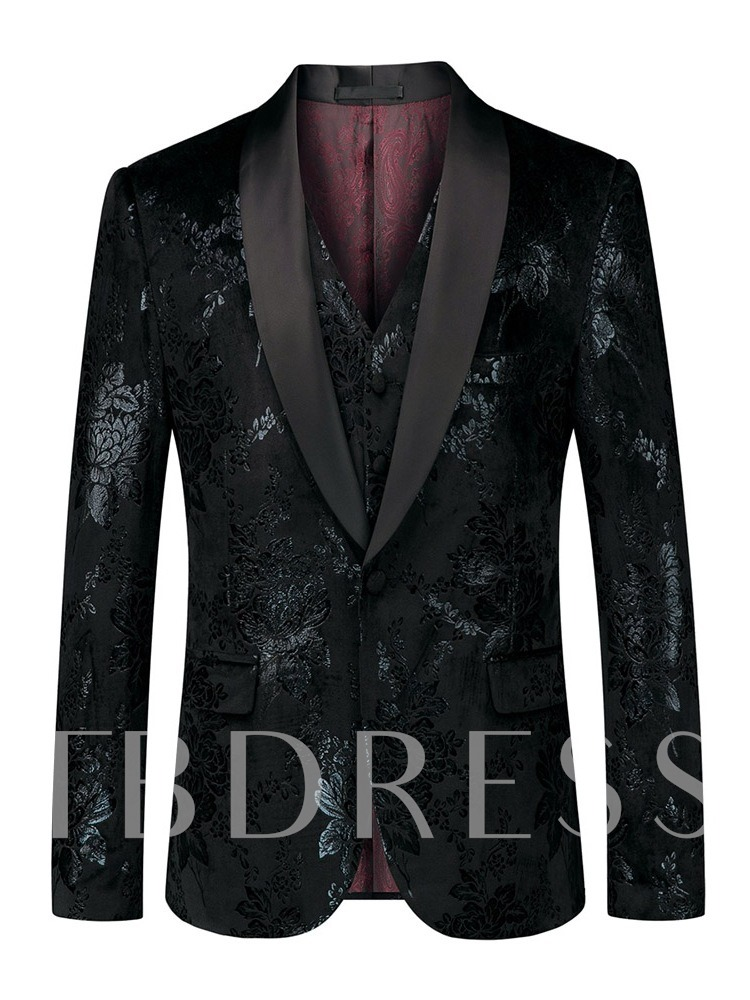 Cotton Print Blazer Pants Vest Fashion Three-Piece Suit Pocket One Button Men's Dress Suit