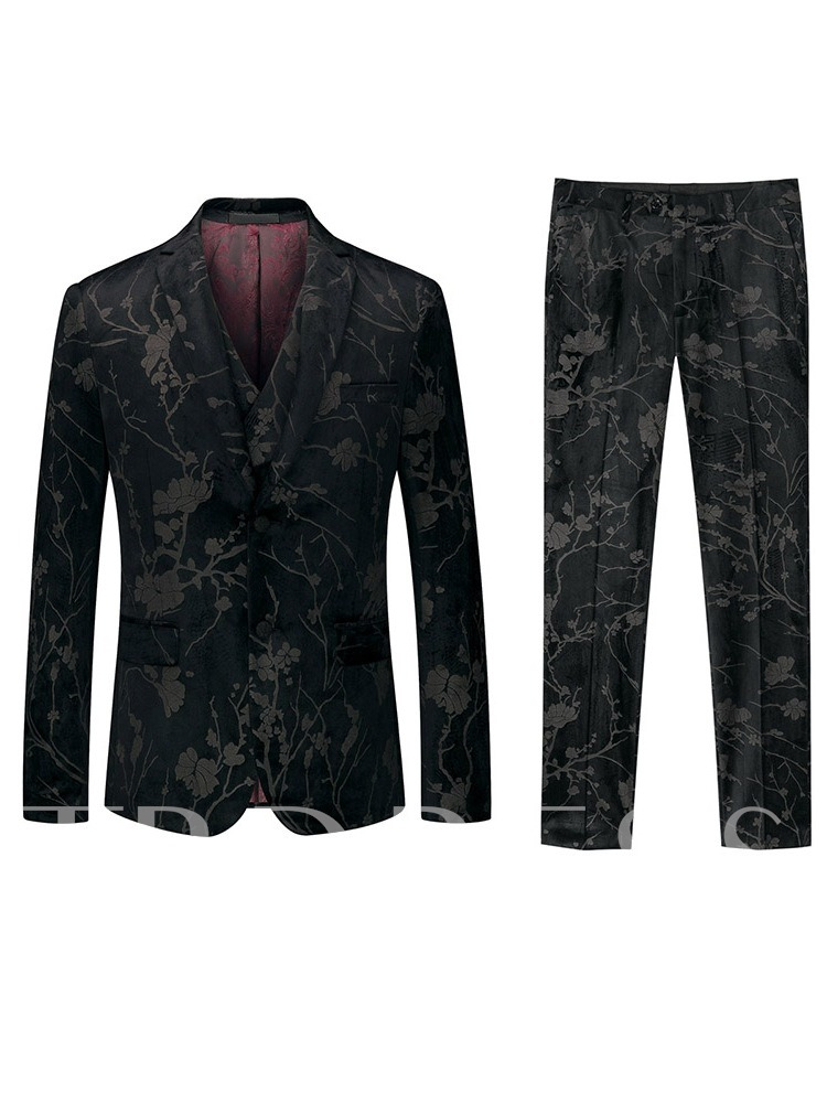 Print Three-Piece Suit Color Block Pants Single-Breasted Men's Dress Suit