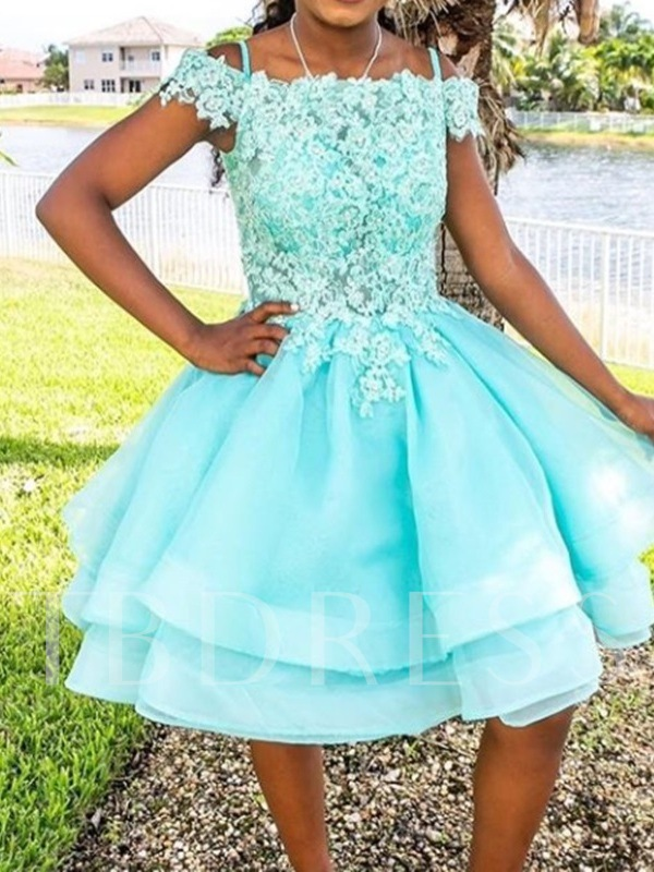 Knee-Length Appliques Short Sleeves A-Line Homecoming Dress 2019