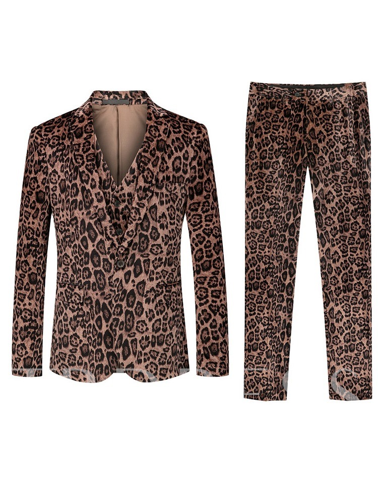 Fashion Leopard Print Color Block Three-Piece Suit One Button Men's Dress Suit