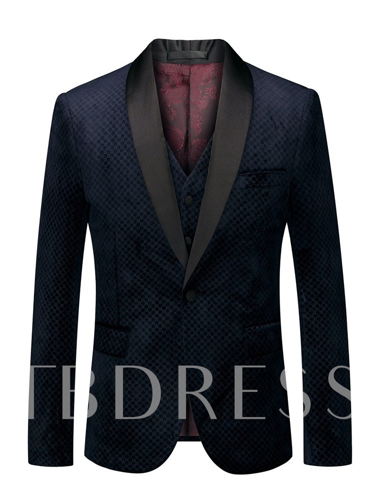 Fashion Suit Sets Wedding Formal Blazer Plaid Vest One Button Men's Dress Suit