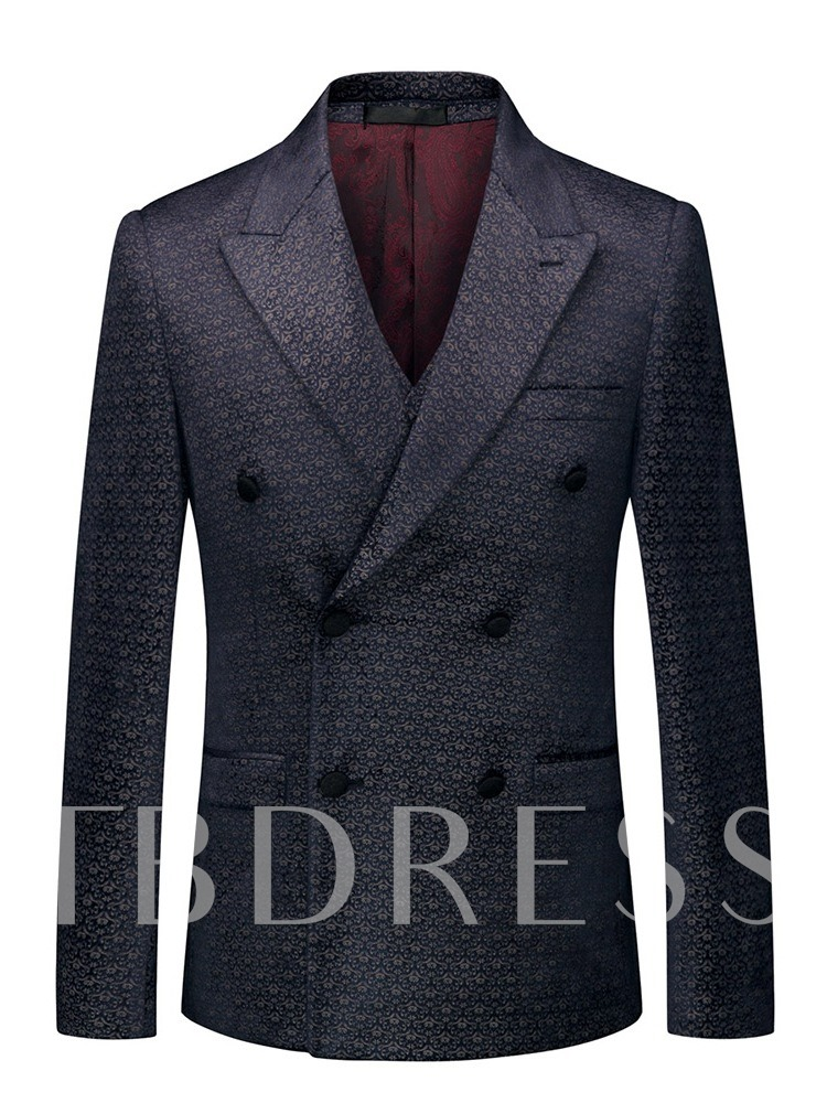 Print Three-Piece Suit Double-Breasted Pants Button Fashion Men's Dress Suit