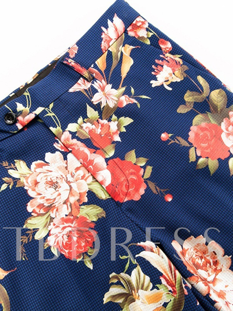 Floral Print Color Block Fashion Pocket Pants Men's Dress Suit