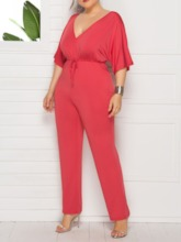 Plus Size Fashion Plain Full Length Lace-Up Loose Women's Jumpsuit