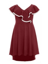 Plus Size V-Neck Asymmetric Plus Size Women's Dress