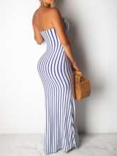 Sleeveless Hollow Stripe Mid Waist Women's Maxi Dress