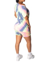 Tie-Dye-Casual-Color-Block-Shorts zweiteilige Damen-Sets