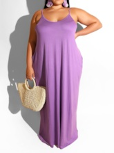 Plus Size Sleeveless Pocket Summer Women's Maxi Dress