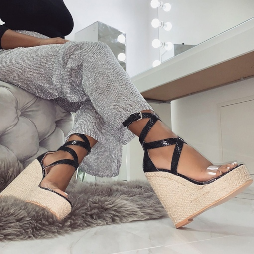 Wedge Heel Open Toe Heel Covering Buckle Espadrille Sandals