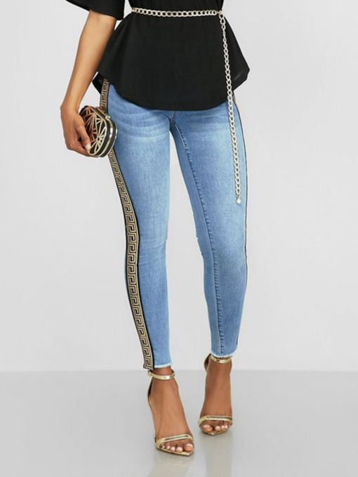 Pencil Pants Print Geometric Skinny Women's Jeans