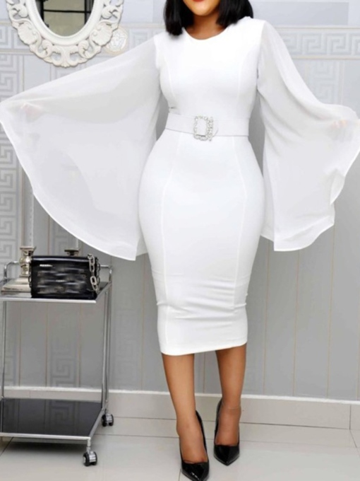 Plus Size Belt Long Sleeve Mid-Calf Round Neck Plain Women's Dress