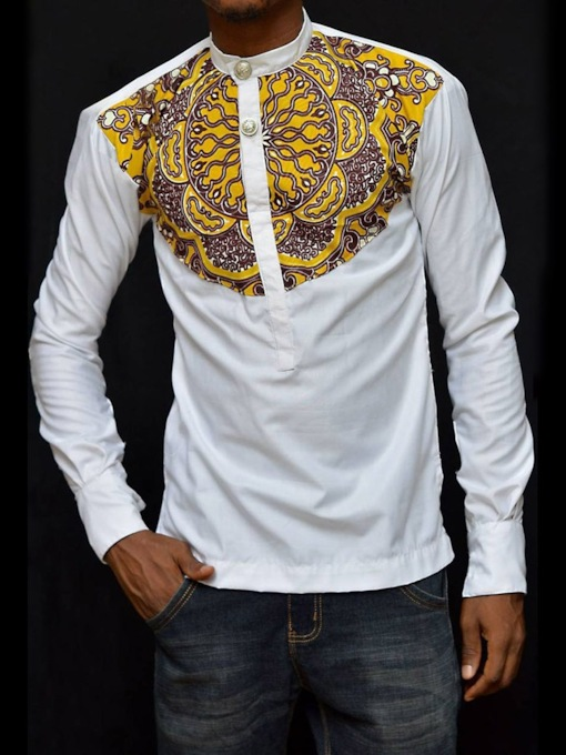African Fashion Stand Collar Floral Print Color Block Casual Long Sleeve Men's T-shirt