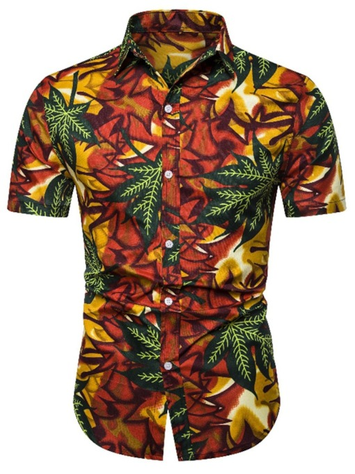 Hawaiian Shirts Fashion Men's Casual Button Floral Lapel European Summer Men's Shirt