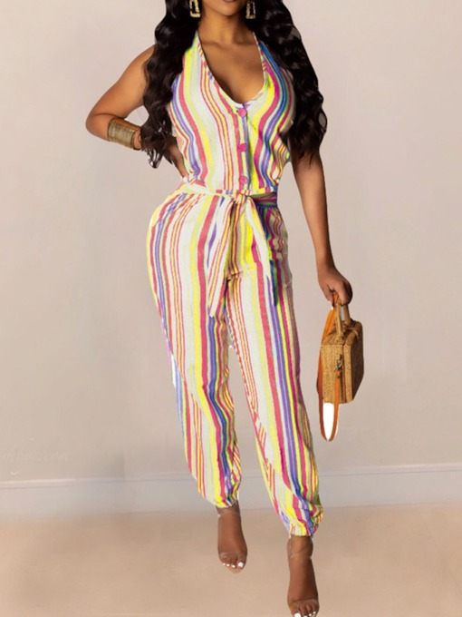 Ankle Length Lace-Up Fashion Stripe Knickerbockers Women's Jumpsuit