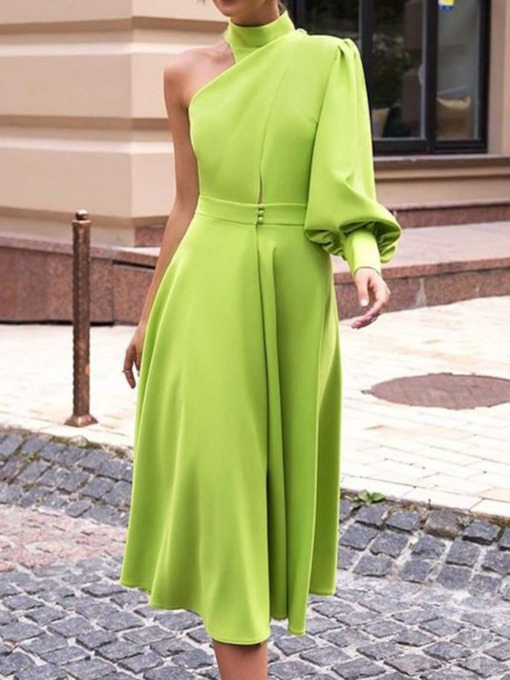 Turtleneck Long Sleeve Mid-Calf Plain Women's Maxi Dress