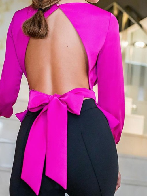 chemisier bowknot uni col rond manches neuf points femmes