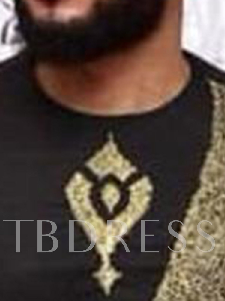 Round Neck Color Block Print African Fashion Long Sleeve Men's T-shirt