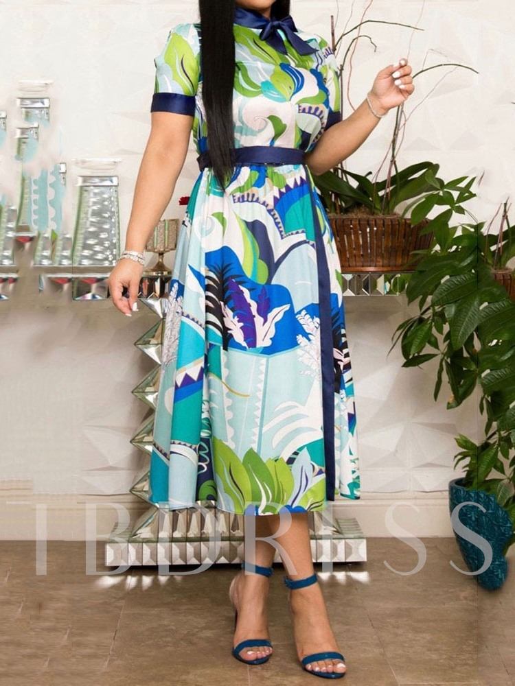 Mid-Calf Bowknot Nine Points Sleeve High Waist Women's Maxi Dress
