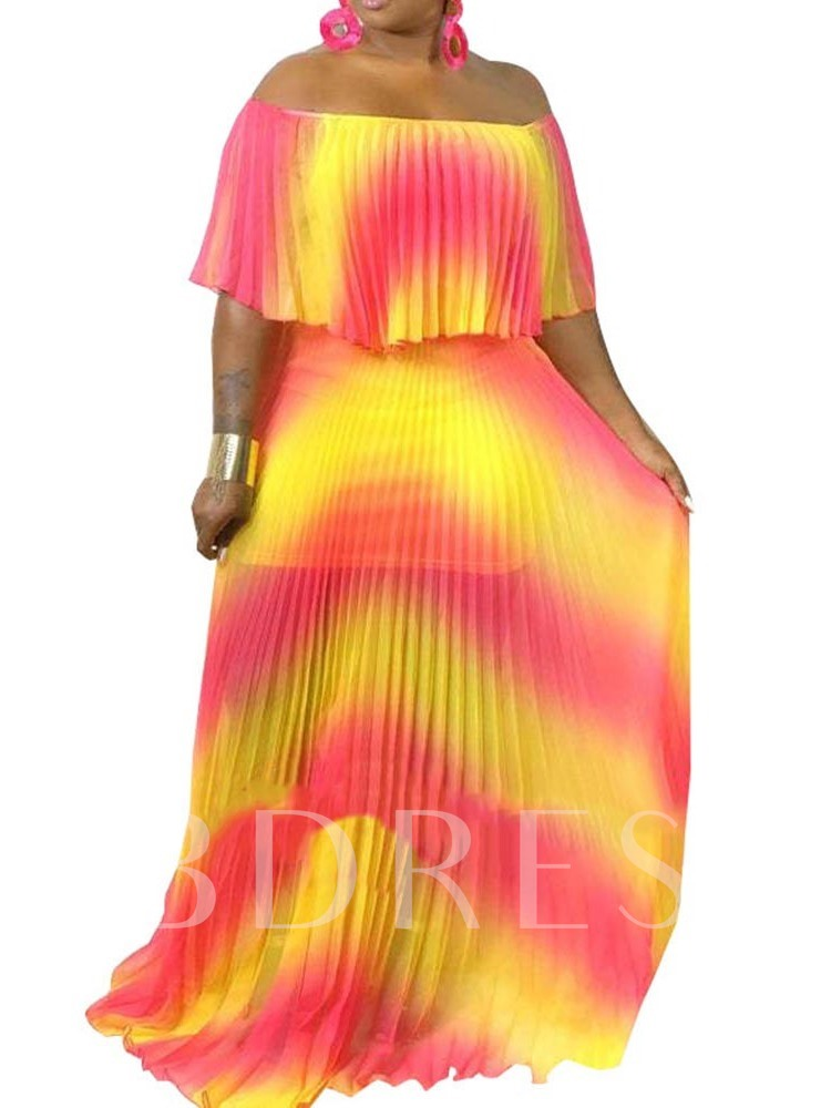 Pleated Off Shoulder Half Sleeve Pullover Women's Maxi Dress