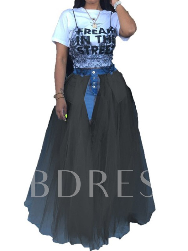 Floor-Length Asymmetrical Patchwork Color Block Western Women's Skirt