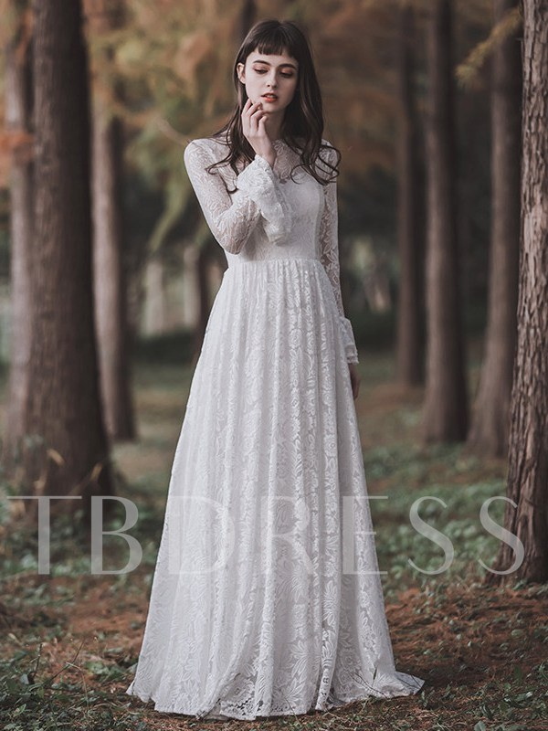 A-Line Long Sleeves Lace Wedding Dress 2019