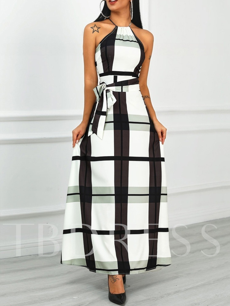 Ankle-Length Sleeveless Lace-Up Plaid Women's Maxi Dress