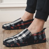 Slip-On Plaid Color Block Round Toe Men's Loafers