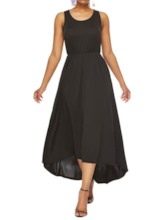 Pleated Sleeveless Asymmetric Women's Maxi Dress