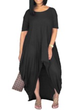 Asymmetric Round Neck Short Sleeve Plain Women's Maxi Dress