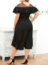Plus Size Round Neck See-Through Short Sleeve Asymmetrical Women's Dress