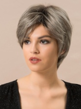 130% Density Women's Short Natural Straight Human Hair Blend Wigs Rose Elastic Capless Wigs 8Inches