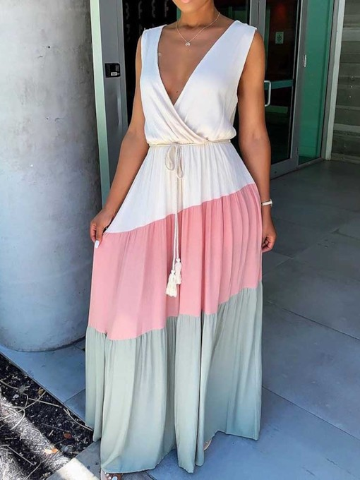 Patchwork Sleeveless V-Neck Mid Waist Women's Maxi Dress