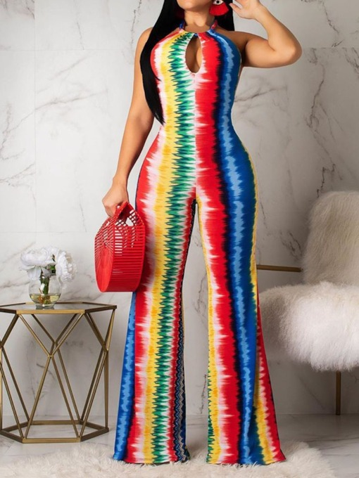 Fashion Full Length Color Block Print Mid Waist Women's Jumpsuit