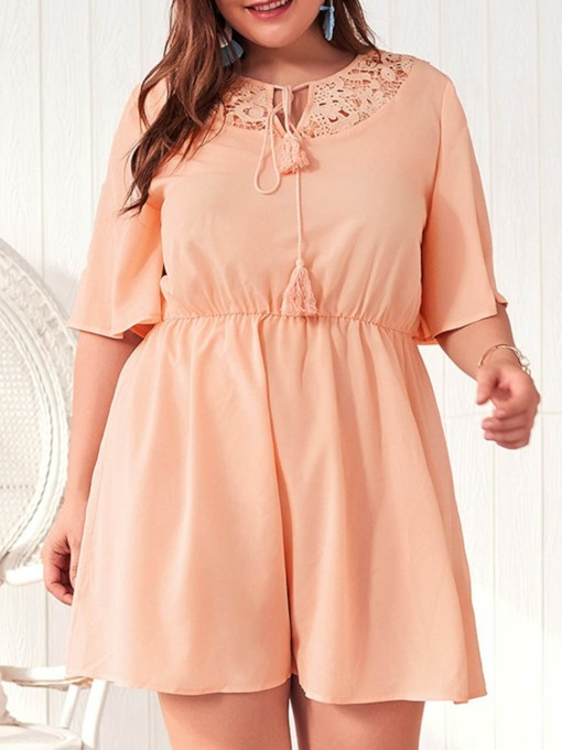 Plus Size Half Sleeve Above Knee Round Neck Lace Women's Dress