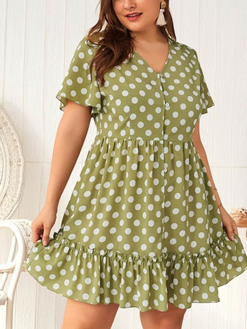 Plus Size Pleated V-Neck Above Knee Short Sleeve Regular Women's Dress