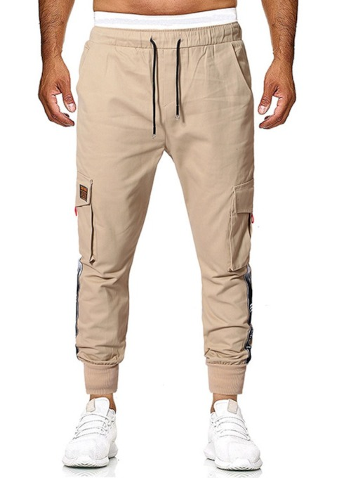 Casual Solid Color Multi-Pocket Tooling Trousers Overall Thin Patchwork Men's Casual Pants